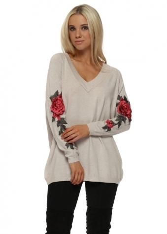 Beige 3D Embroidered Rose Sleeve Jumper