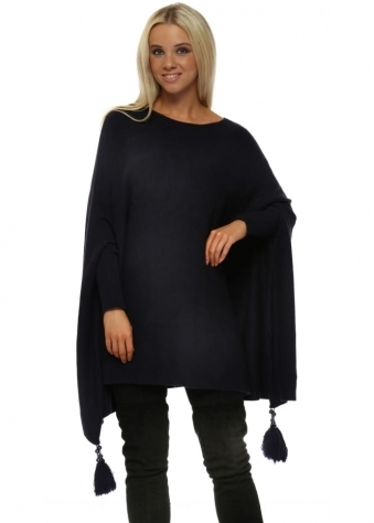 Navy Blue Knitted Tassel & Pearl Poncho Jumper