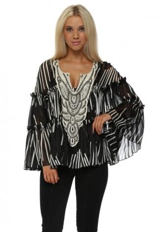 Monochrome Stripe Embellished Chiffon Blouse