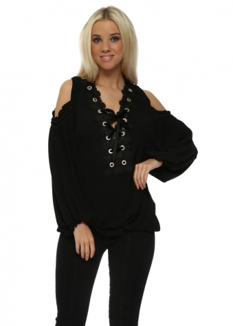Black Crystal Eyelet Cold Shoulder Corset Tie Top