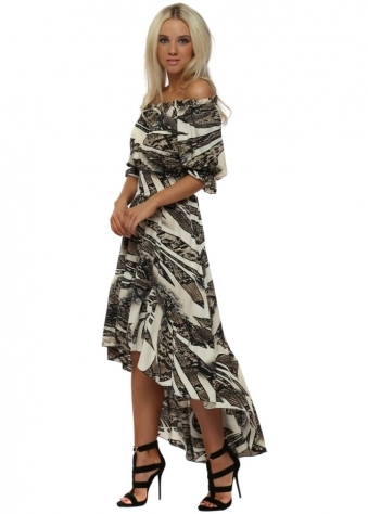 Black & Cream Animal Print Bardot Maxi Dress
