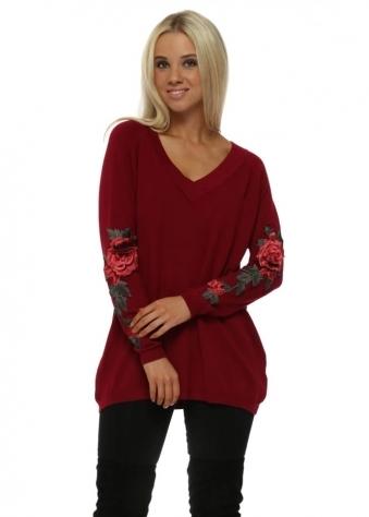 Red 3D Embroidered Rose Sleeve Jumper