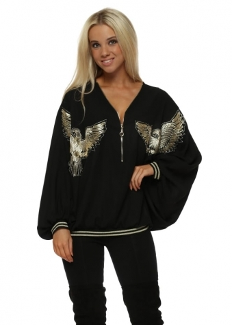 Golden Eagle Black Zip Neck Blouson Top