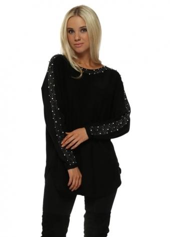 Black Pearl Studded Sleeve Tunic Jumper