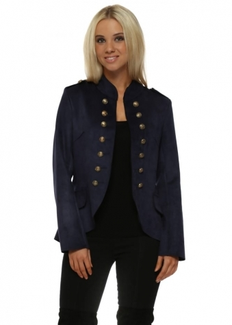 Navy Blue Suedette Military Jacket