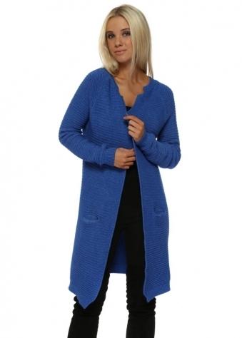 Cobalt Blue Ribbed Long Line Cardigan