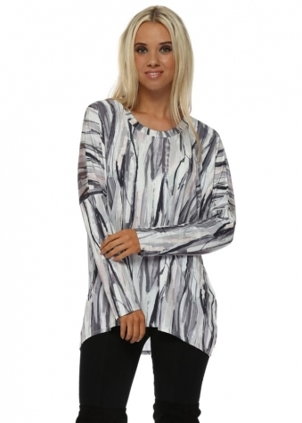 Vanna Urban Stripe Vanilla Mesh Back Tunic Top