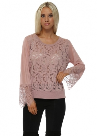 Eddie Tawny Lace Top With Sheer Mesh Sleeve