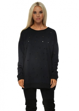 Dee Distressed Hole Knit Sweater In Black
