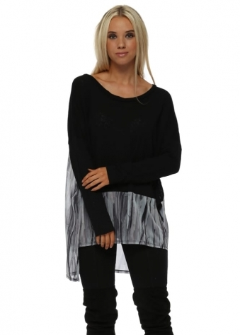 Violet Urban Stripe Slub Knit Sweater In Black