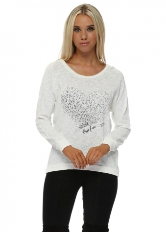 Renee Vanilla Starling Heart Slub Knit Ribs Jumper