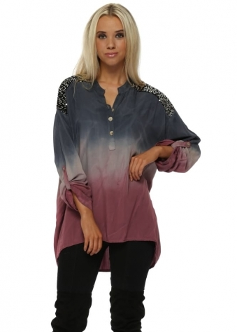 Blue & Raspberry Ombre Sequinned Tunic Shirt