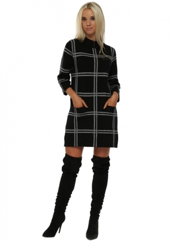 Black Plaid Turtle Neck Mini Jumper Dress