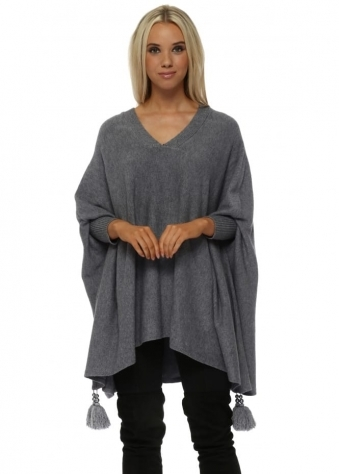 Grey V Neck Knitted Tassel & Pearl Poncho Jumper