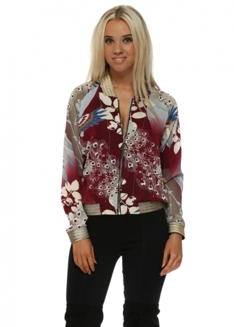 Burgundy Bird Of Paradise Gold Braid Bomber Jacket