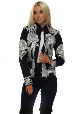 EXCLUSIVE Navy Embellished Trophy Jacket
