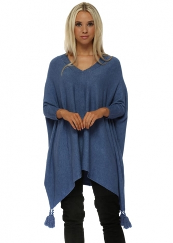 Blue V Neck Knitted Tassel & Pearl Poncho Jumper