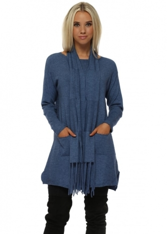 Blue Soft Knit Ribbed Tunic Jumper & Scarf