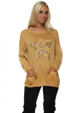 Fine Knit Mustard Ruffle & Sequin Star Pocket Jumper