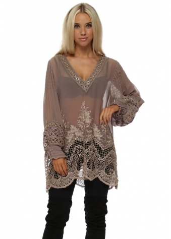 Taupe Luxe Lace Semi Sheer Long Tunic Top