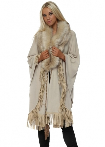Cream Luxe Faux Fur Cape With Suede Studded Tassel Trim