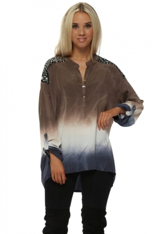 Mocha & Blue Ombre Sequinned Tunic Shirt