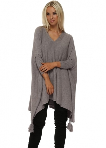 Taupe V Neck Knitted Tassel & Pearl Poncho Jumper