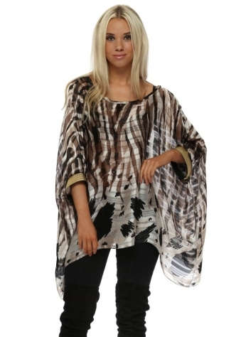 Swirl Print Oversized Kaftan Top With Gold Cuffs