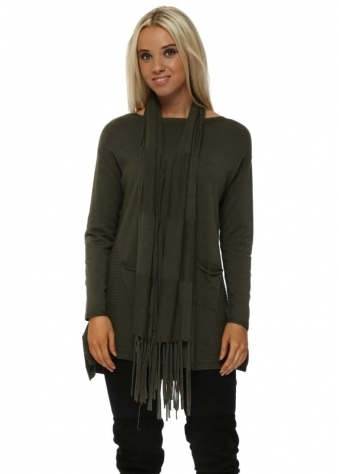 Khaki Soft Knit Ribbed Tunic Jumper & Scarf