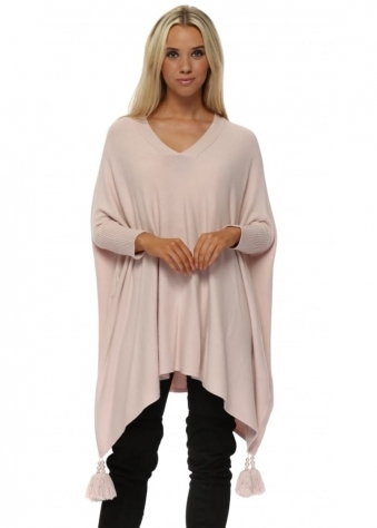 Baby Pink V Neck Knitted Tassel & Pearl Poncho Jumper