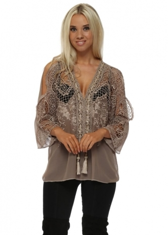 Taupe Crochet & Lace Cold Shoulder Top