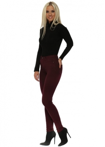 Burgundy Stretch Fit Skinny High Waisted Jeans