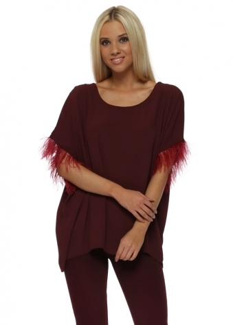 Burgundy Feather Sleeve Oversized Short Top