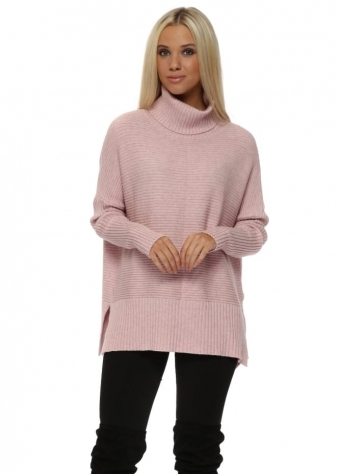 Baby Pink Ribbed Roll Neck Batwing Jumper