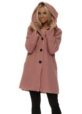 Rose Pink Big Button Hooded Duffle Coat