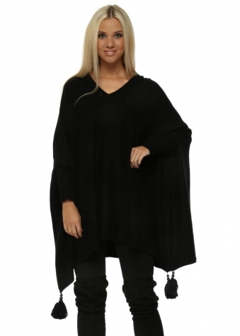 Black V Neck Knitted Tassel & Pearl Poncho Jumper