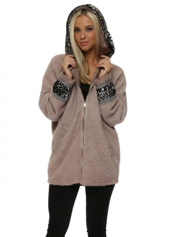 Pink Fluffy Knit Sequinned Hooded Jacket