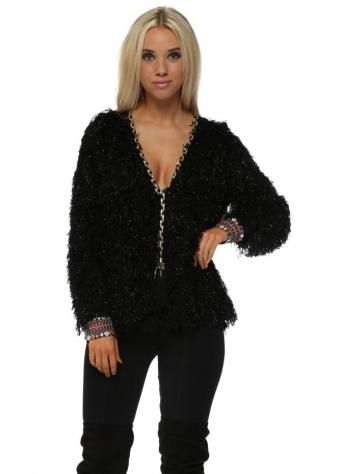 Black Sparkle Fluffy Embellished Cuff Cardigan