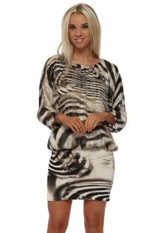 Black & Beige Animal Print Bandeau Hem Mini Dress
