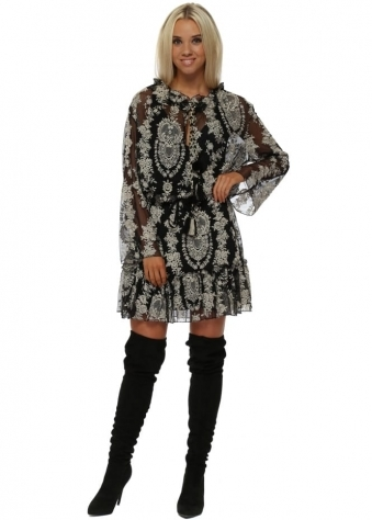 Black & Beige Lace Romantic Frill Hem Dress
