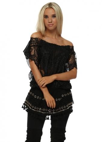 Black Crochet Lace Bardot Tunic Top