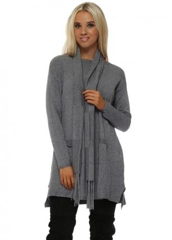 Grey Soft Knit Ribbed Tunic Jumper & Scarf