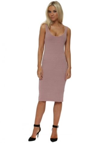 Grace Tawny Ribbed Midi Vest Dress