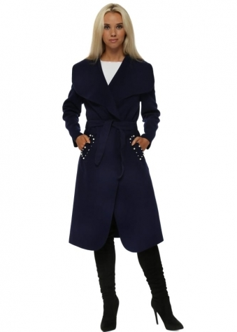 Blue Duster Coat With Pearl Pockets