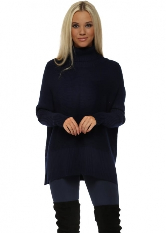Navy Blue Ribbed Roll Neck Batwing Jumper