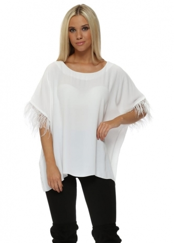 White Feather Sleeve Oversized Short Top