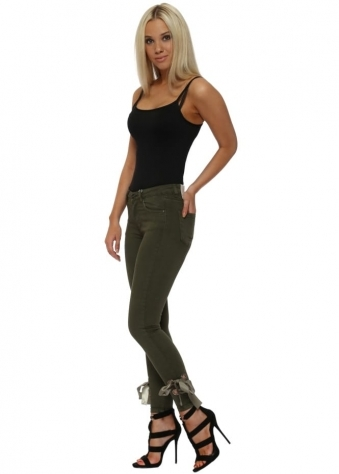 Khaki Stretch Fit Skinny Ribbon Tie Jeans