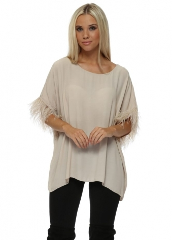 Beige Feather Sleeve Oversized Short Top