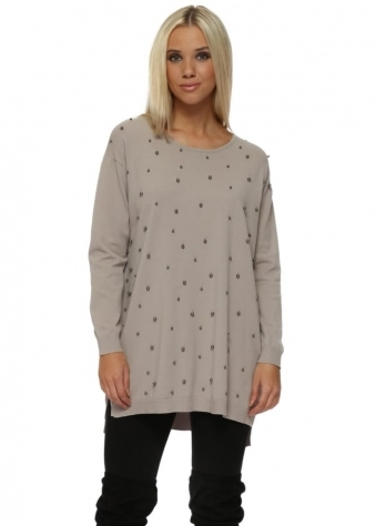 Pewter Studded Long Line Taupe Jumper