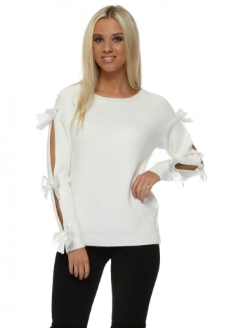 Winter White Satin Bow Slit Sleeve Jumper